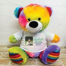 Personalised Memorial Photo Teddy Bear 40cm Rainbow