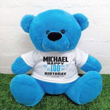 Personalised 100th Birthday Bear Blue 40cm