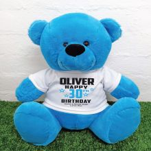 Personalised 30th Birthday Bear Blue 40cm