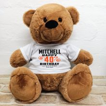 Personalised 40th Birthday Bear Brown 40cm