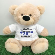 Personalised 70th Birthday Bear Cream 40cm