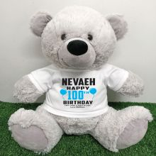 Personalised 100th Birthday Bear Grey 40cm