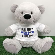 Personalised 30th Birthday Bear Grey 40cm