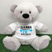 Personalised 70th Birthday Bear Grey 40cm