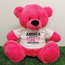 Personalised 100th Birthday Bear Pink 40cm