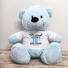 Personalised 30th Birthday Bear Light Blue 40cm