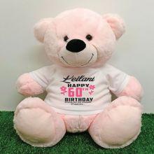 Personalised 60th Birthday Bear Light Pink 40cm