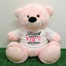 Personalised 70th Birthday Bear Light Pink 40cm