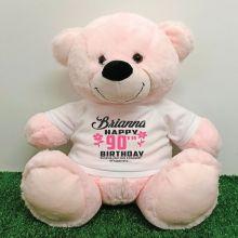 Personalised 90th Birthday Bear Light Pink 40cm