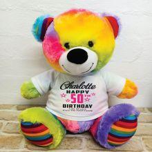 Personalised 50th Birthday Bear Rainbow 40cm