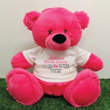 Personalised Newborn Bear 40cm Hot Pink Plush