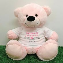 Personalised Newborn Bear 40cm Light Pink Plush