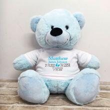 Personalised Newborn Bear 40cm Light Blue Plush