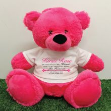 Personalised Memory Teddy Bear 40cm Hot Pink