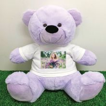 Personalised Photo Teddy Bear 40cm Lavender