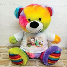 Personalised Photo Teddy Bear 40cm Rainbow