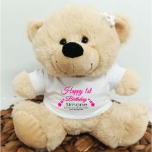 1st Birthday Bear Cream Plush