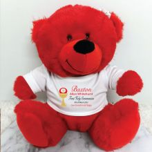 Personalised 1st Holy Communion Bear Red Plush