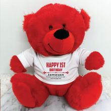 Personalised 1st Birthday Bear Red Plush