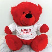Personalised 21st Birthday Bear Red Plush