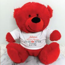 Personalised Birth Details Bear Red Plush