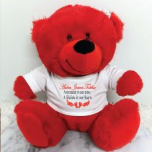 Personalised Baby Memorial Red Plush Bear