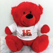Personalised 16th Teddy Bear Red Plush