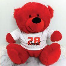 Personalised Birthday Teddy Bear Red Plush