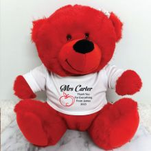 Personalised Teacher Bear Red Plush