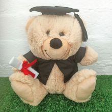 Cream Graduation Teddy Bear with Mortarboard