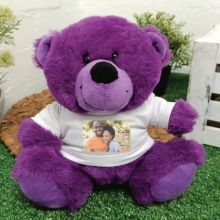 Personalised Photo T-Shirt Teddy Bear - Purple