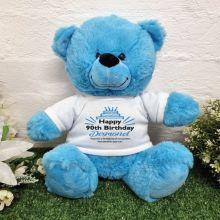 90th Birthday party Bear Bright Blue Plush 30cm