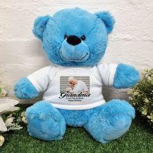 Personalised Photo Bear Bright Blue 30cm