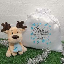 1st Christmas Reindeer & Christmas Sack - Blue