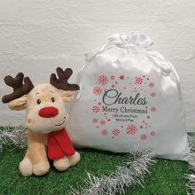 Christmas Reindeer & Christmas Sack - Red Snowflake