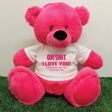 Naughty Love You Valentines Bear - 40cm Hot Pink