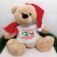 1st Christmas Personalised Bear 40cm Santa T-Shirt
