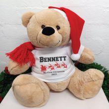 Personalised Christmas Bear 40cm Sleigh T-Shirt
