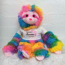 Personalised Graduation Rainbow Sloth Plush