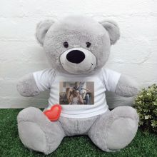 Voice Recordable  Photo Bear with T-Shirt - Grey 40cm