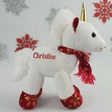 Personalised Christmas Unicorn Plush