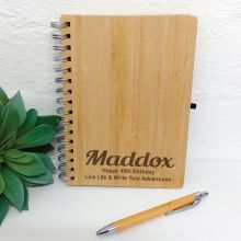 40th Engraved Bamboo Journal with Pen