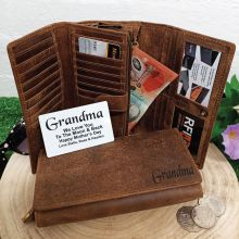 Personalised Brown Leather Purse RFID - Grandma