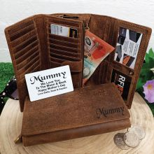 Personalised Brown Leather Purse RFID - Mum