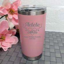 60th Birthday Insulated Travel Mug 600ml Dusky Pink