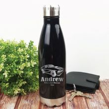 Personalised Engraved Stainless Steel Drink Bottle - Black (M)