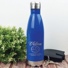 Netball  Coach Engraved Stainless Steel Drink Bottle - Blue