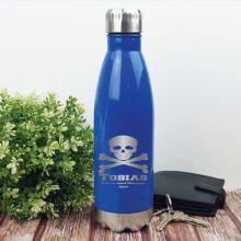 Personalised Engraved Stainless Steel Drink Bottle - Blue (M)