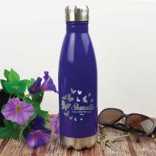 Personalised Engraved Stainless Steel Drink Bottle - Purple (F)
