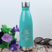 Personalised Engraved Stainless Steel Drink Bottle - Teal (F)